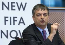 """FIFA presidential candidate Jerome Champagne attends the """"New FIFA Now"""" summit at the European Parliament in Brussels January 21, 2015. REUTERS/Yves Herman"""