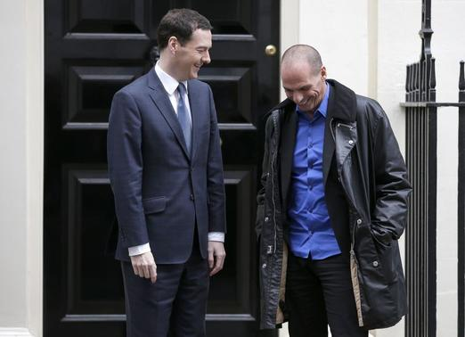 Greek Finance Minister Yanis Varoufakis (R) smiles as he poses with Britain's Chancellor of the Exchequer, George Osborne, before their meeting at Downing Street in London February 2, 2015. REUTERS/Peter Nicholls