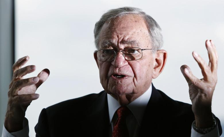 Chicago Mercantile Exchange (CME) group's Chairman Emeritus Leo Melamed speaks during an interview with Reuters in Tokyo in this June 30, 2014 file photo.REUTERS/Yuya Shino/Files