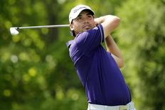 Sep 13, 2014; Atlanta, GA, USA; Jason Day hits from the second tee box during the third round of the Tour Championship at East Lake Golf Club. Mandatory Credit: Brett Davis-USA TODAY Sports