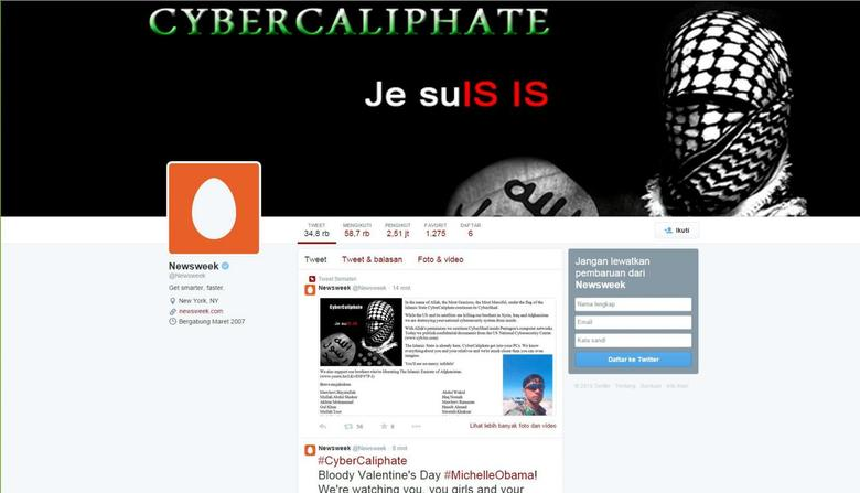A screen shot of the Newsweek twitter page after it was hacked on Tuesday, February 10, 2015. REUTERS