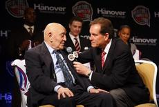 CBS Sports announcer Jim Nantz (R) interviews Hall of Fame coach Jerry Tarkanian during the announcement of the Naismith Memorial Basketball Hall of Fame Class of 2013 in Atlanta, Georgia in this file photo dated April 8, 2013.  REUTERS/Jeff Haynes