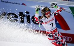 Anna Fenninger of Austria celebrates after run two of the womens giant slalom in the FIS alpine skiing world championships at Raptor Racecourse. Jeff Swinger-USA TODAY Sports