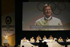 Former Austrian skiing champion Franz Klammer presents to the meeting of the International Olympic Committee his country's bid to elect Salzburg as the host city of the 2014 Winter Olympics, during the IOC's meeting in downtown Guatemala City, July 4, 2007.    REUTERS/Daniel Leclair