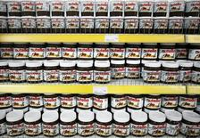 Nutella produced from Italy, priced at 6.25 BAM ($4.20), are displayed for sale at a FIS supermarket in Vitez March 13, 2012. REUTERS/Dado Ruvic