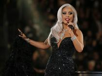 "Lady Gaga performs ""Cheek to Cheek"" with Tony Bennett (not pictured) at the 57th annual Grammy Awards in Los Angeles, California in this February 8, 2015 file photo. REUTERS/Lucy Nicholson"