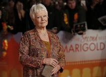 """Actress Judi Dench arrives at the Royal Film Performance and world premiere of the film, """"The Second Best Exotic Marigold Hotel"""", at Leicester Square, London February 17, 2015. REUTERS/Peter Nicholls"""