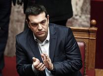 Primeiro-ministro grego, Alexis Tsipras, durante sessão no Parlamento. 18/02/2015    REUTERS/Alkis Konstantinidis