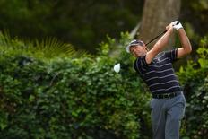 Feb 21, 2015; Pacific Palisades, CA, USA; Retief Goosen tees off on the seventh during the third round of the Northern Trust Open at Riviera Country Club. Mandatory Credit: Jake Roth-USA TODAY Sports