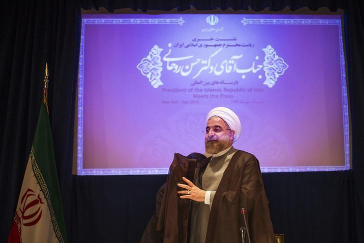 Iran's President Hassan Rouhani prepares to depart after the end of a press conference on the sidelines of the 69th United Nations General Assembly in New York September 26, 2014. REUTERS/Adrees Latif