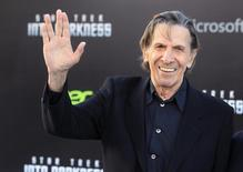 "Leonard Nimoy, cast member of the new film ""Star Trek Into Darkness"", poses as he arrives at the film's premiere in Hollywood May 14, 2013.  REUTERS/Fred Prouser"
