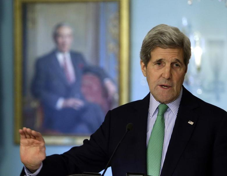 U.S. Secretary of John Kerry holds a joint news conference with Liberian President Ellen Johnson Sirleaf (not pictured) at the State Department in Washington February 27, 2015.   REUTERS/Gary Cameron