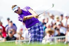Ian Poulter tees off on the 17th hole during the third round of the Honda Classic at PGA National GC Champion Course. Mandatory Credit: Peter Casey-USA TODAY Sports