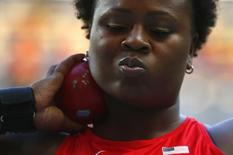 Michelle Carter of the U.S. competes in the women's shot put final during the IAAF World Athletics Championships at the Luzhniki stadium in Moscow August 12, 2013.  REUTERS/Kai Pfaffenbach