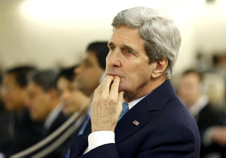 U.S. Secretary of State John Kerry attends the 28th Session of the Human Rights Council at the United Nations in Geneva March 2, 2015.      REUTERS/Denis Balibouse