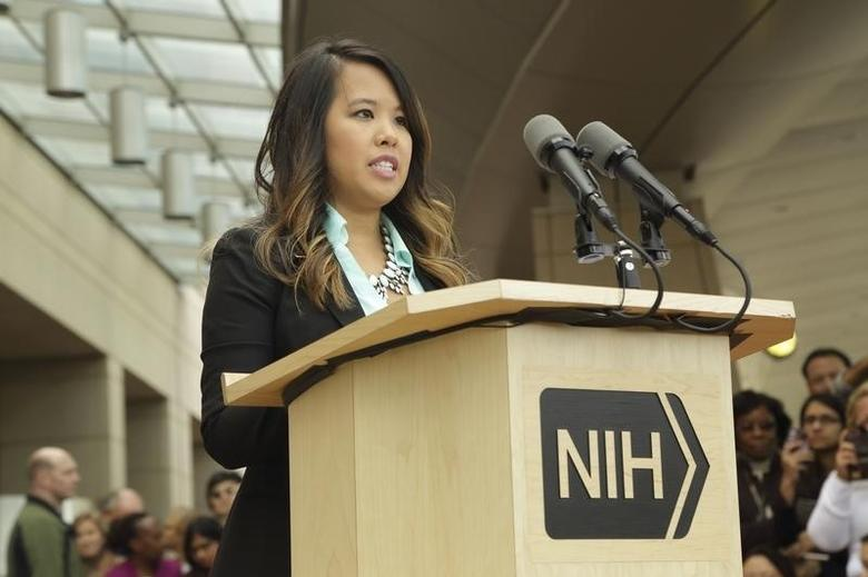 Dallas nurse Nina Pham speaks during a news conference at the National Institutes of Health (NIH) in Bethesda, Maryland October 24, 2014. REUTERS/National Institutes of Health/Handout