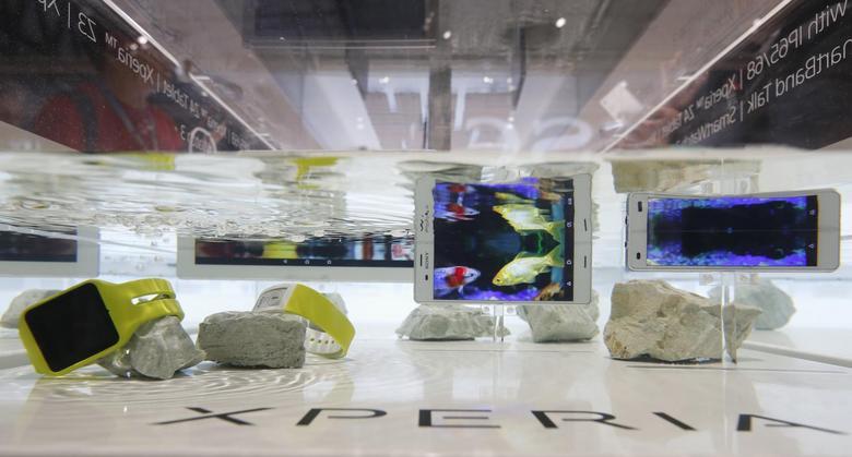 Sony's Xperia Aqua models are shown at the Mobile World Congress in Barcelona March 2, 2015. REUTERS/Gustau Nacarino