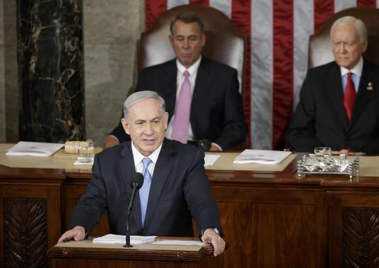 Israeli Prime Minister Benjamin Netanyahu addresses a joint meeting of Congress in the House Chamber on Capitol Hill, March 3, 2015.  REUTERS-Gary Cameron