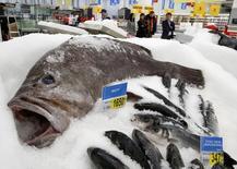 Мороженая рыба в магазине Ашан в Москве. 28 ноября 2014 года. Недельная инфляция в России замедлилась до 0,2 процента с 0,6 процента на прошлой неделе, свидетельствуют данные Росстата. REUTERS/Sergei Karpukhin