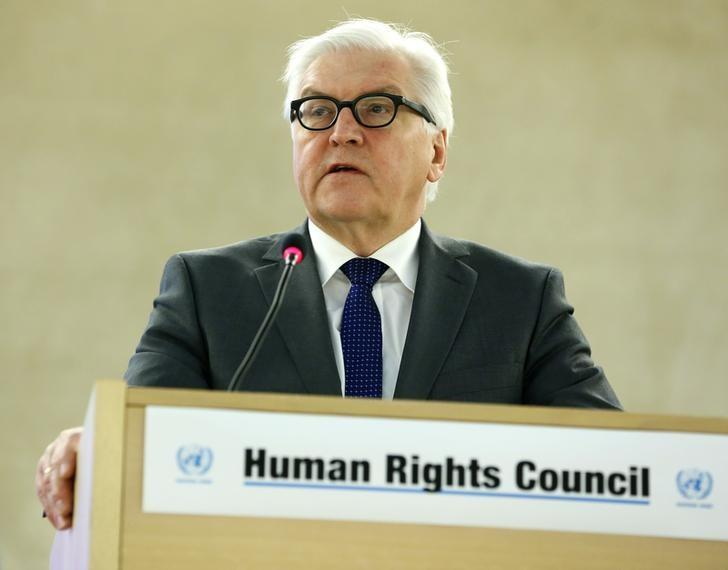 German Foreign Minister Frank-Walter Steinmeier addresses the 28th Session of the Human Rights Council at the United Nations in Geneva March 3, 2015.      REUTERS/Pierre Albouy