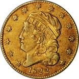 An 1822 Half Eagle five-dollar gold piece, one of only three known to exist, is seen in an undated handout photo courtesy of PCGS. REUTERS/Photo courtesy of PCGS/Handout via Reuters