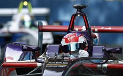 Virgin Racing team driver Jaime Alguersuari of Spain drives his car during the Round Four of the Formula E championship in Buenos Aires, January 10, 2015.   REUTERS/Marcos Brindicci