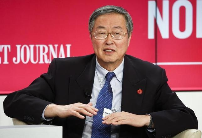 Zhou Xiaochuan, Governor of the People's Bank of China speaks at the Volatility as the New Normal event in the Swiss mountain resort of Davos January 21, 2015.  REUTERS/Ruben Sprich