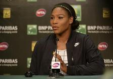 Serena Williams speaks to the media during a press conference today at Indian Wells Tennis Garden. Mar 12, 2015; Indian Wells, CA, USA;  Jayne Kamin-Oncea-USA TODAY Sports