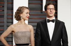 Actor Andy Samberg and wife, actress Joanna Newsom arrive at the 2015 Vanity Fair Oscar Party in Beverly Hills, California February 22, 2015. REUTERS/Danny Moloshok