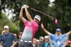 Bubba Watson hits his tee shot on the seventh hole during the final round of the WGC - Cadillac Championship golf tournament at TPC Blue Monster at Trump National Doral. Mandatory Credit: Jason Getz-USA TODAY Sports