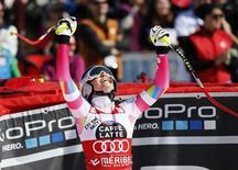 Lindsey Vonn of the U.S. reacts in the arrival area in the women's downhill race at the Alpine Skiing World Cup Finals in Meribel, in the French Alps, March 18, 2015.          REUTERS/Robert Pratta