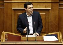 O premiê grego, Alexis Tsipras, durante sessão parlamentar em Atenas. 10/03/2015 REUTERS/Alkis Konstantinidis