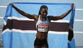 Amantle Montsho of Botswana celebrates winning second place in the women's 400 metres final during the IAAF World Athletics Championships at the Luzhniki Stadium in Moscow August 12, 2013.    REUTERS/Phil Noble