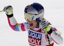 Lindsey Vonn of the U.S. reacts in the arrival area in the women's Super G race at the Alpine Skiing World Cup Finals in Meribel, in the French Alps, March 19, 2015.       REUTERS/Robert Pratta