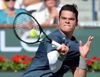 Milos Raonic (CAN) during his quarter final match against Rafael Nadal (ESP) in the BNP Paribas Oopen at the Indian Wells Tennis Garden. Raonic won 4-6, 7-6, 7-5. Mandatory Credit: Jayne Kamin-Oncea-USA TODAY Sports