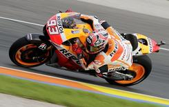 Honda MotoGP rider Marc Marquez of Spain races during the third free practice session ahead of the Valencia Motorcycle Grand Prix at the Ricardo Tormo racetrack in Cheste, near Valencia, November 8, 2014. REUTERS/Heino Kalis