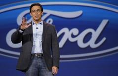 Mark Fields, CEO of Ford Motor Co., speaks at his company's keynote at the International Consumer Electronics show (CES) in Las Vegas, Nevada January 6, 2015.     REUTERS/Rick Wilking