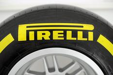 A Pirelli's tyre is pictured at the headquarters in Milan March 26, 2015. REUTERS/Giorgio Perottino