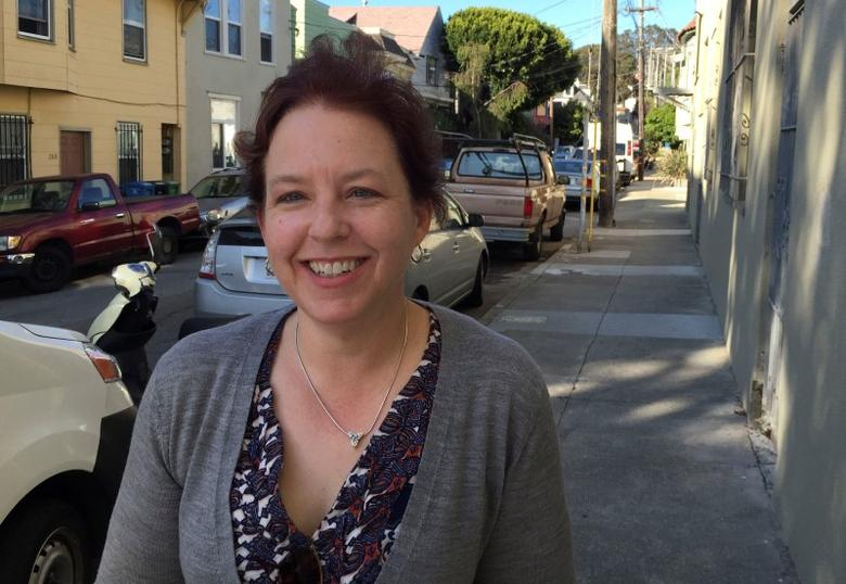 Erin Malone, an alternate juror in Pao vs Kleiner, Perkins, Caufield and Byers case and a partner at user-experience design firm Tangible UX, poses in her San Francisco neighborhood of Bernal Heights, March 28, 2015. REUTERS/Sarah McBride