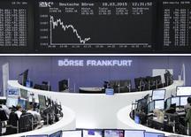 Operadores en sus puestos de trabajo en la bolsa alemana en Fráncfort, mar 18 2015. La incertidumbre que rodea al momento en que la Reserva Federal de Estados Unidos subirá las tasas de interés moderó las previsiones de los analistas sobre las ganancias en las bolsas este año, mostró un sondeo de Reuters el martes.         REUTERS/Stringer/Remote