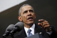 En la imagen, el presidente de Estados Unidos, Barack Obama, ofrece declaraciones en Boston. 30 de marzo, 2015. El presidente de Estados Unidos, Barack Obama, emitió el miércoles un decreto para crear una nueva autoridad que sancione a individuos y entidades vinculadas a ciberataques. REUTERS/Jonathan Ernst