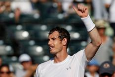 Andy Murray waves to the crowd after his match against Dominic Thiem (not pictured) on day ten of the Miami Open at Crandon Park Tennis Center. Murray won 3-6, 6-4, 6-1. Mandatory Credit: Geoff Burke-USA TODAY Sports