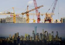 Chantier de construction à Pékin. L'activité dans le secteur des services en Chine s'est accrue en mars mais la croissance de l'emploi et des nouveaux contrats a nettement ralenti, ce qui pourrait inciter la Banque populaire de Chine et le gouvernement à prendre de nouvelles mesures pour relancer une économie en perte de vitesse. /Photo prise le 16 décembre 2015/REUTERS/Kim Kyung-Hoon