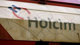 The logo of Swiss cement maker Holcim is seen on a railway-car in the town of Schlieren near Zurich April 1, 2015. REUTERS/Arnd Wiegmann