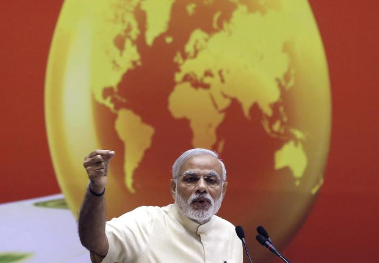 India's Prime Minister Narendra Modi speaks during an energy summit in New Delhi March 27, 2015. REUTERS/Adnan Abidi