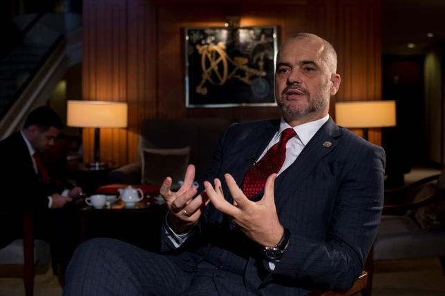 Albanian Prime Minister Edi Rama talks to Reuters during an interview in Belgrade November 10, 2014.  REUTERS/Marko Djurica