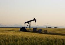Станок-качалка близ Калгари 21 июля 2014 года. Цены на нефть растут после 6-процентного падения в среду, вызванного ростом запасов нефти в США и повышением добычи в Саудовской Аравии. REUTERS/Todd Korol