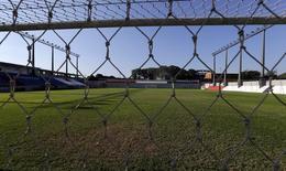 Вид из-за ворот на поле стадиона Estadio Arsenio Erico в Асунсьоне. 5 августа 2014 года. REUTERS/Jorge Adorno