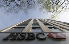 The HSBC bank logo is pictured at the bank headquarters in Paris April 9, 2015.    REUTERS/Gonzalo Fuentes
