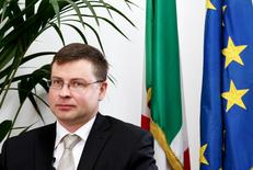 European Commission Vice President Valdis Dombrovskis attends an interview in Rome April 13, 2015.    REUTERS/Alessandro Bianchi